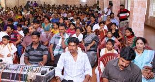 Spectators watching student's performances