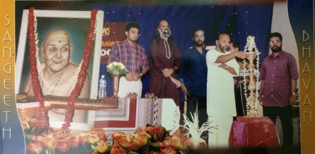 Vidyadharan Master, Stephen Devassy and A. Anantha Padmanabhan on stage